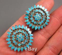 Vintage Zuni Dishta Sterling Flush Inlay Turquoise Snowflake Earring Clips