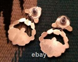 Vintage Zuni Dishta Turquoise Sterling Silver Earrings 1.5 inches