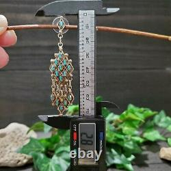 Vintage Zuni Earrings Sterling Silver and Turquoise Needlepoint
