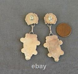 Vintage Zuni Eldred Martinez Signed Inlay Corn Maiden Necklace & Earrings Set
