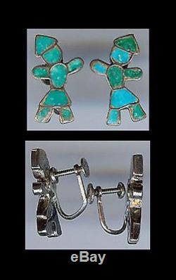 Vintage Zuni Indian Sterling Silver Inlaid Turquoise Figural Earrings