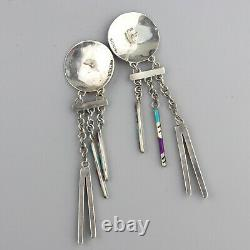 Vintage Zuni Inlay Long Chandelier Earrings Native American Sterling Micro Inaly
