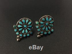 Vintage Zuni Native Indian Sterling Silver Turquoise Flowers Screw-on Earrings