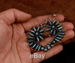 Vintage Zuni Navajo Old Pawn TURQUOISE Sterling Dangle Post Earrings
