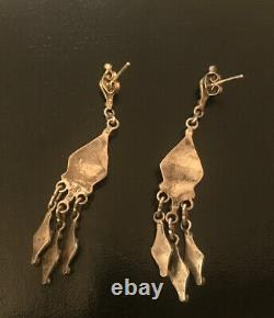 Vintage Zuni Old Pawn Sterling Silver Turquoise Petit Point Chandelier Earrings