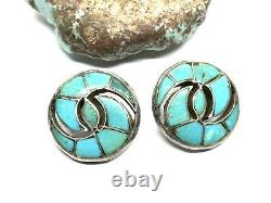 Vintage Zuni Quandelacy Sterling Silver Turquoise Hummingbird Inlay Earrings