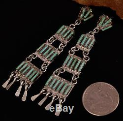 Vintage Zuni R H Pinto Old Pawn Needle Point Turquoise Sterling Dangle Earrings