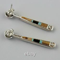 Vintage Zuni Reversible Opal Earrings Turquoise Tiger Eye Native American 2 in 1