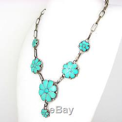 Vintage Zuni Signed VK Sterling Silver Turquoise Inlay Flower Necklace G AI