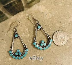 Vintage Zuni Sterling Dishta Earrings Excellent Hard To Find Rare Turquoise