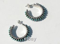 Vintage Zuni Sterling Earrings, Intricate Blue Turquoise Needlepoint Hoops