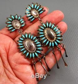 Vintage Zuni Sterling Repousse Turquoise Needle Point Earrings 3 Inches