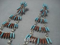 Vintage Zuni Sterling Silver Chandelier Turquoise Coral Earrings