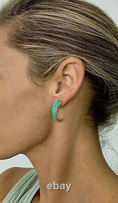 Vintage Zuni Sterling Silver Green Cobblestone Inlay Turquoise Hoop Earrings
