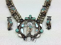 Vintage Zuni Sterling Silver Inlay Gemstone Owl Squash Blossom Necklace Earring