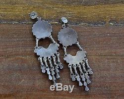 Vintage Zuni Sterling Silver Multi-Stone Sunface Inlay Long Chandelier Earrings