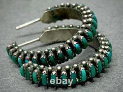 Vintage Zuni Sterling Silver Needle Point Turquoise Hoop Earrings MINT