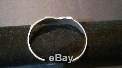 Vintage Zuni Sterling Silver Rainbow Needlepoint Cuff Bracelet Signed SB