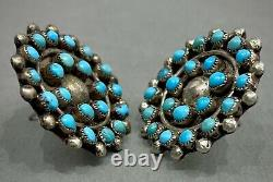 Vintage Zuni Sterling Silver Turquoise Cluster Post Earrings OLD