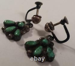 Vintage Zuni Sterling Silver Turquoise Dangle Screw On Earrings