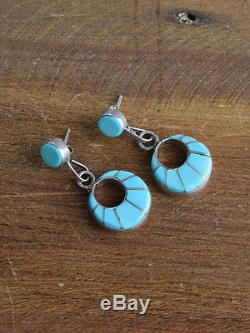 Vintage Zuni Sterling Silver Turquoise Inlay Necklace and Earrings Set