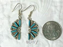 Vintage Zuni Sterling Silver Turquoise Necklace Earring Set Signed HH