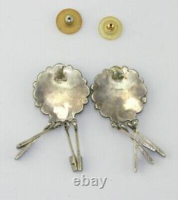 Vintage Zuni Sterling Silver Turquoise Petit Point Dangle Post Earrings