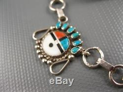 Vintage Zuni Sterling Turquoise Coral MOP Jet Inlay Sun Face Necklace Earrings