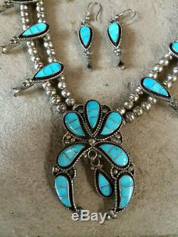 Vintage Zuni Sterling Turquoise Inlay Squash blossom Necklace and earrings Set