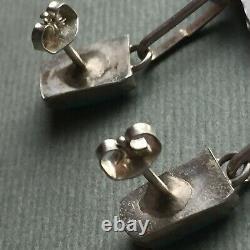 Vintage Zuni Sterling silver Turquoise Petit Point Chandelier Earrings Dangle 2
