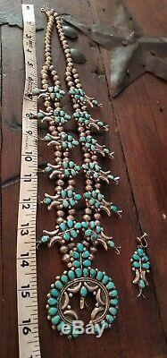 Vintage Zuni Turquoise Squash Blossom Sterling Silver Necklace, earrings 30 inch