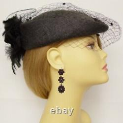 Vintage cascade garnet earrings oval Sterling Silver // 200123a+P