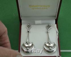 Vintage modernist ladies sterling silver drop earrings hallmarked EAJM Lon 1991