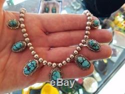 Vintage set Johnny Frank Navajo Sterling Turquoise Squash Blossom Necklace