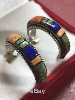 Vintage southwestern Sterling Silver Inlay Earrings Lapis Turquoise Half Hoop