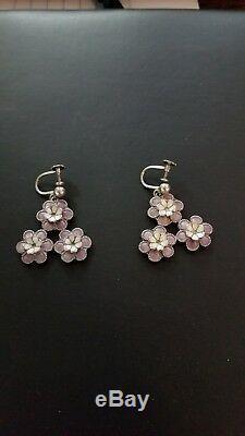 Vintage sterling floral guilloche violet enamel bracelet & earring Meka Denmark