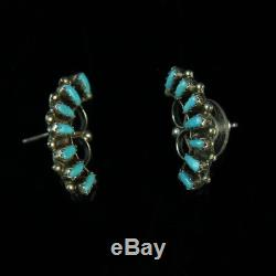 Vintage sterling silver. 925 stud earrings Turquoise old pawn Native American