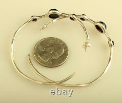 Vintage sterling silver Ippolita 925 three stone onyx hoop earrings