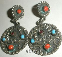 Vintage sterling silver Mexico Taxco turquoise coral earrings Matl style