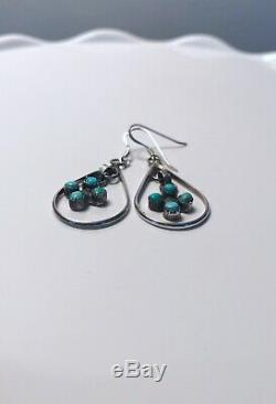 Vintage zuni sterling silver turquoise earrings