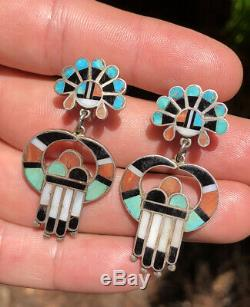 Vtg 1940's Pawn Sterling Silver Zuni Multi Stone Inlay Sunface Dangle Earrings