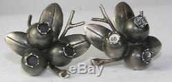 Vtg 1950's Hand Wrought Clifford Russell Sterling Silver Blueberry Earrings