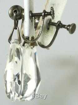 Vtg 30's Sterling Silver Czechoslovakia Czech Long Crystal Glass Screw Earrings