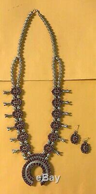 Vtg 50s ZUNI Sterling Silver & Turquoise/Coral SQUASH BLOSSOM Necklace & Earring