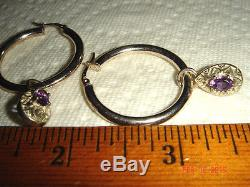 Vtg 925 Sterling Silver Etruscan Amethyst Birthstone Charm Dangle Hoop Earrings