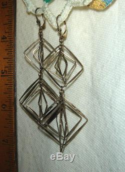 Vtg 925 Sterling Silver Modernist Abstract Mobile Leverback Dangle Drop Earrings