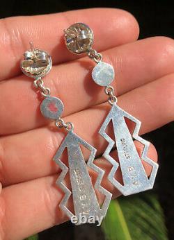 Vtg Alton Bedonie Navajo Native American Sterling Silver Ball Dangle Earrings