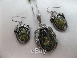 Vtg Art Nouveau Sterling Silver Green Baltic Amber Floral Necklace Earrings Set