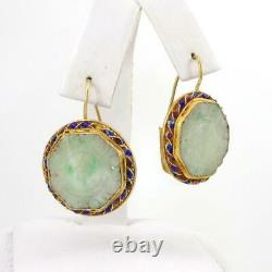 Vtg Chinese Export Sterling Silver Gold Vermeil Carved Jade Dangle Earrings LJC5