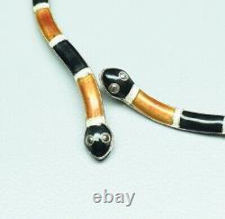 Vtg Early Laurel Burch Enamel Sterling Dangle Earrings Snake Serpent 2.75 High
